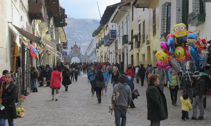 Backpacks in Cusco, Peru