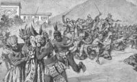 Conquistadors charge at Atahualpa