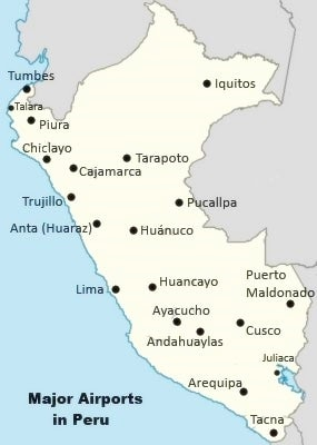List of Major Airports in Peru (With Map) | How to Peru
