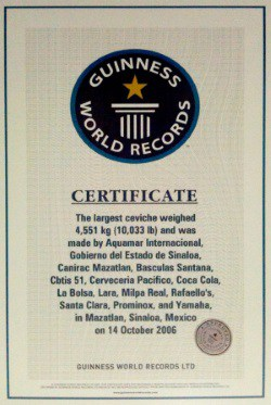 Mexico's largest ceviche certificate from 2006.