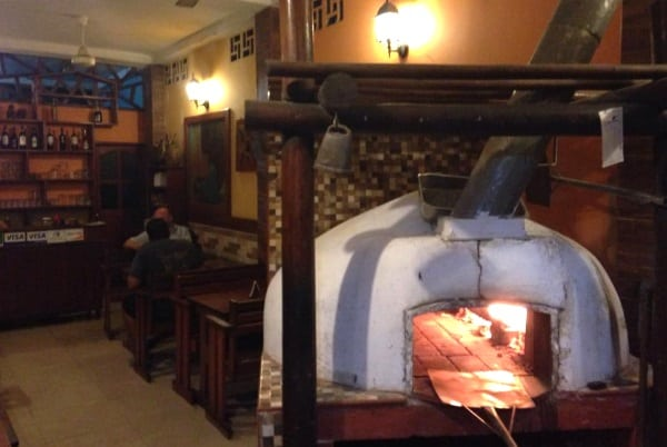 The pizza oven in Chez Maggy