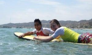 Surfing in Zorritos, Peru.