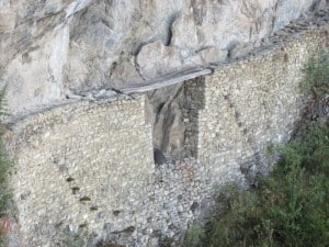 Wooden planks on Inca Bridge, Machu Picchu
