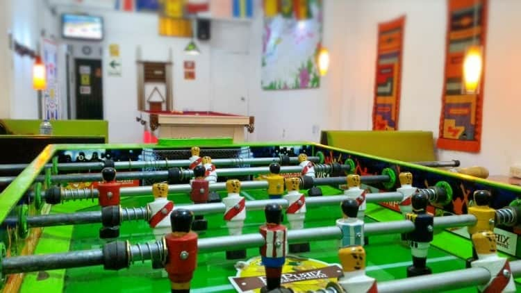 Foosball at Pay Purix hostal near Lima Airport