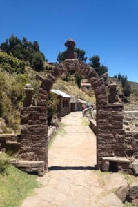 stone archway on path on island