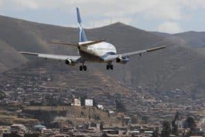cusco airport guide - plane landing at cusco airport