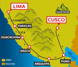 map of full south to cusco