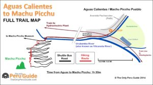 map of trail path from aguas calientes to machu picchu