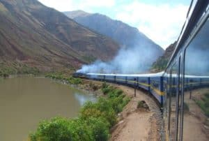 vapor coming out of moving train in the Andes
