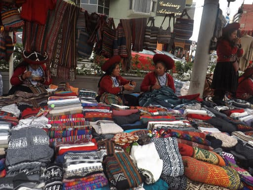 Artisan market with traditional textiles and clothing in Miraflores Lima Peru