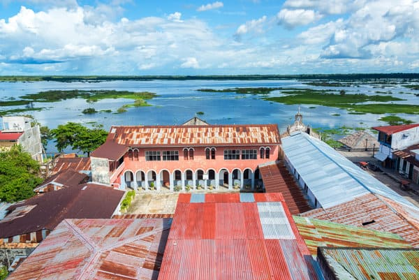 Buildings overlooking Amazon River in Iquitos in Peruvian Amazon Jungle