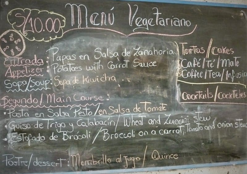 Menu del Dia in Lima Peru