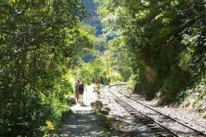 Hiking Along Railroad Tracks From Hydroelectric To Aguascalientes On Way to Machu Picchu