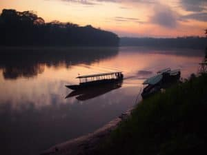 Riverboats on River in Tambopata National Reserve in Peruvian Amazon Jungle
