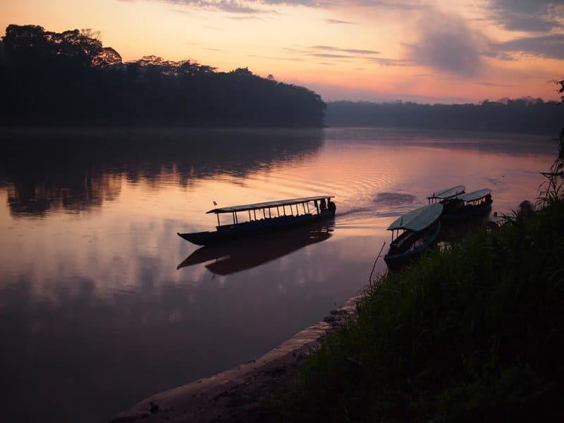 Riverboats on River in Tambopata National Reserve in Peruvian Amazon Jungle - iquitos