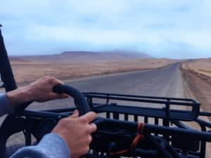Driving ATVs through the Paracas National Park