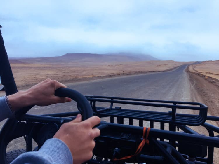 Driving ATVs through the Paracas National Park