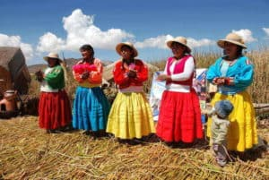 Uros Islands Lake Titicaca Puno Peru Bolivia Border Local inhabitants